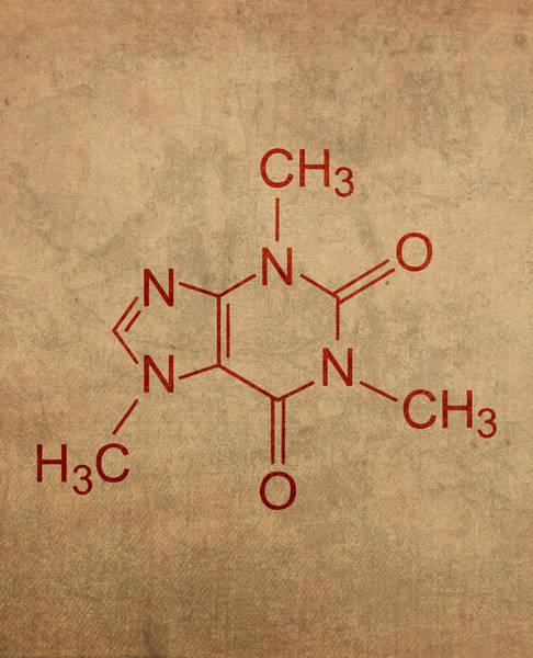 Molecule Wall Art - Mixed Media - Caffeine Molecule Coffee Art by Design Turnpike