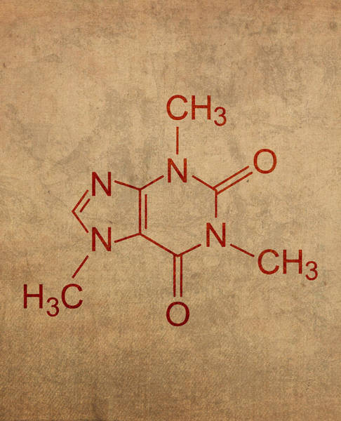 Molecule Wall Art - Mixed Media - Caffeine Molecule Coffee Fanatic Humor Art Poster by Design Turnpike