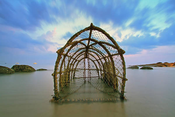 Cage Photograph - Cages With Fish Traps by Monthon Wa