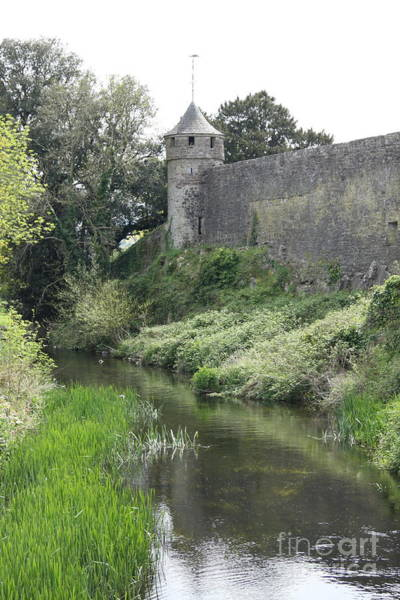 Suir Photograph - Cahir Castle Wall And River Suir by Christiane Schulze Art And Photography