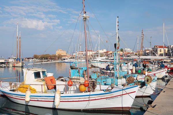 Photograph - Caiques At Aegina Town by Paul Cowan
