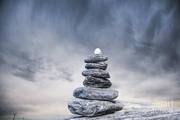 Solidity Photograph - Cairn And Stormy Sky by Colin and Linda McKie