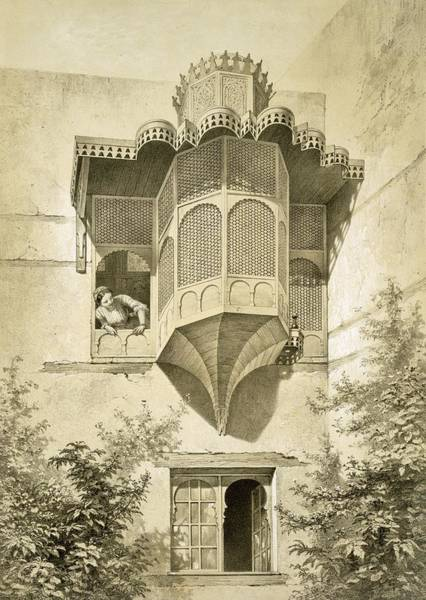 Arabian Drawing - Cairo House Called Beyt El-emyr , 19th by Emile Prisse d'Avennes