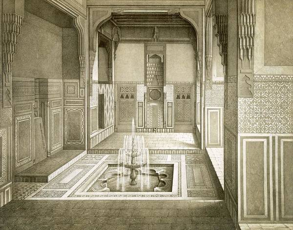Arabian Drawing - Cairo Mandarah Reception Room, Ground by Emile Prisse d'Avennes