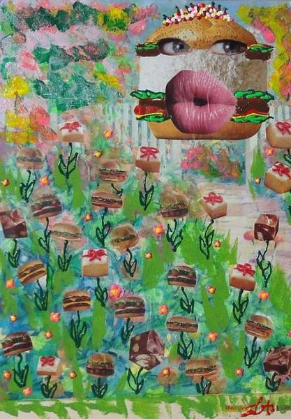 Recycling Painting - Cake Burger by Lisa Piper