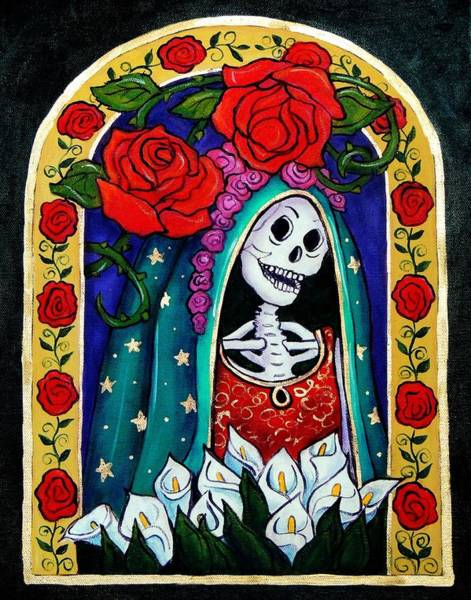 Wall Art - Painting - Calavera Guadalupe by Candy Mayer