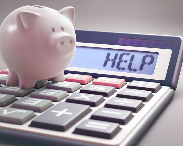 Wall Art - Photograph - Calculator With Help And Piggy Bank by Ktsdesign/science Photo Library