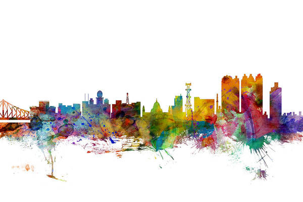 West Indian Wall Art - Digital Art - Calcutta Kolkata India Skyline by Michael Tompsett