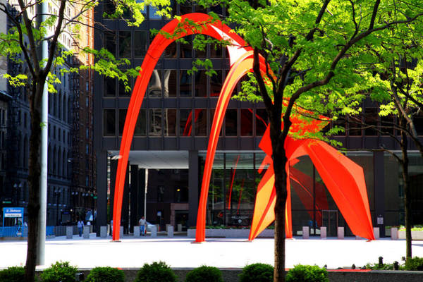 Photograph - Calder Flamingo Sculpture Chicago by Patrick Malon