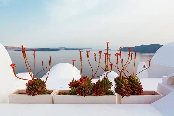 Patio Photograph - Caldera View Of Santorini, Oia, Greece by Deimagine