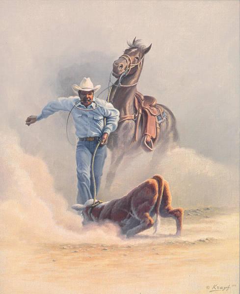 Calf Painting - Calf Roper by Paul Krapf