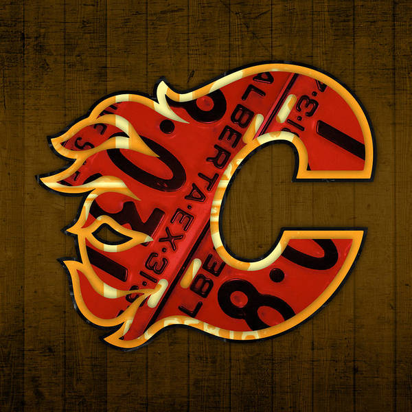 Wall Art - Mixed Media - Calgary Flames Hockey Team Retro Vintage Logo Recycled Alberta Canada License Plate Art  by Design Turnpike