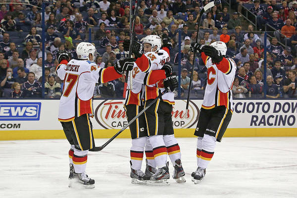 Scoring Photograph - Calgary Flames V Columbus Blue Jackets by Kirk Irwin