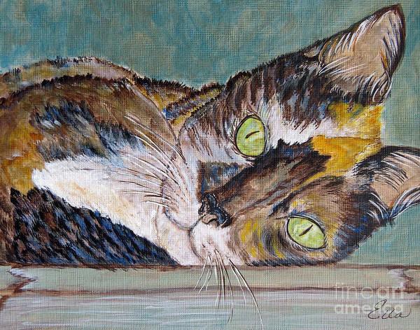 Calico Kitten Wall Art - Painting - Calico Cat by Ella Kaye Dickey