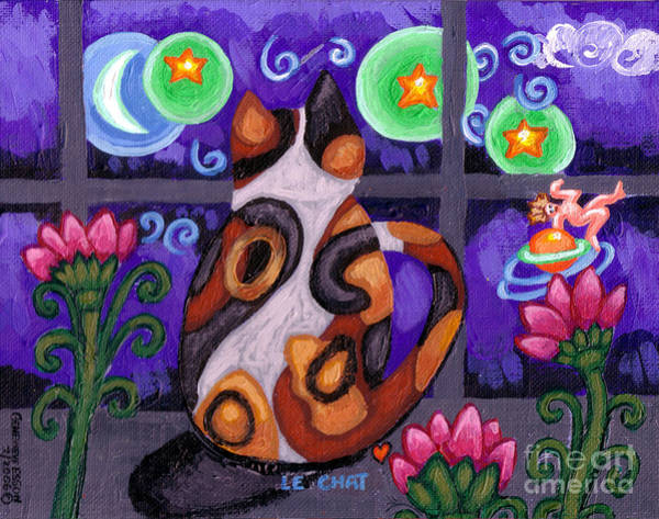 Calico Kitten Wall Art - Painting - Calico Cat In Moonlight by Genevieve Esson