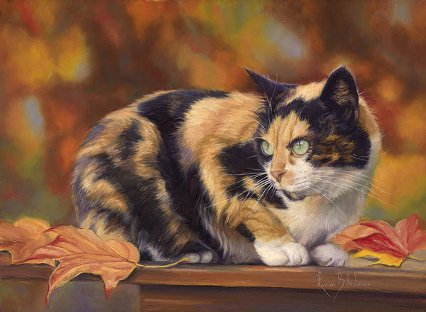 Calico Cat Painting - Calico In The Fall by Lucie Bilodeau