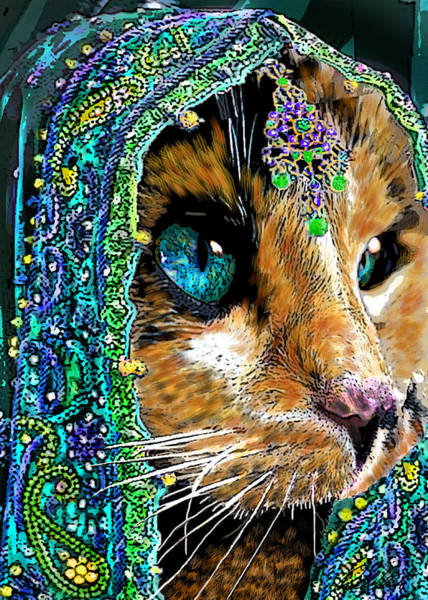 Calico Kitten Wall Art - Painting - Calico Indian Bride Cats In Hats by Michele Avanti