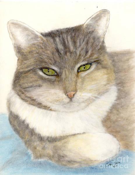 Cathy Painting - Calico Tabby Cat Feline Pets Animal Art by Cathy Peek