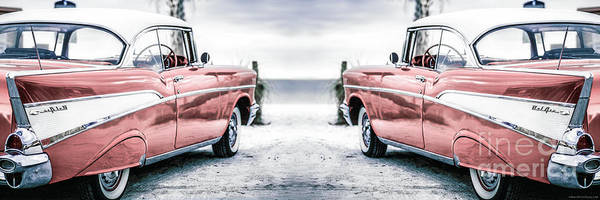 Photograph - California Dreaming Chevy Bel Air Cars by Edward Fielding