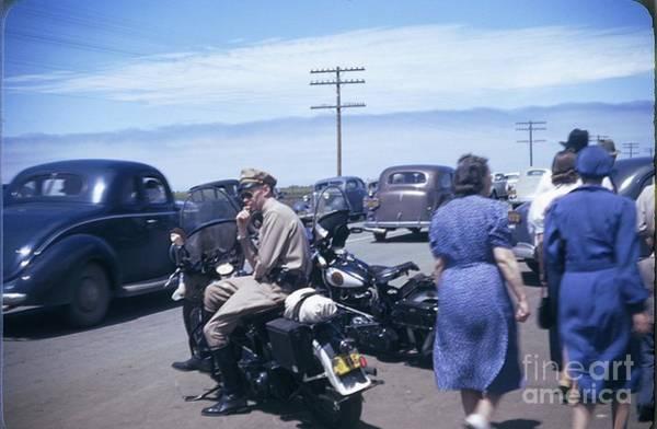 Photograph - California Highway Patrol Harley Davidson Circa 1948 by California Views Archives Mr Pat Hathaway Archives