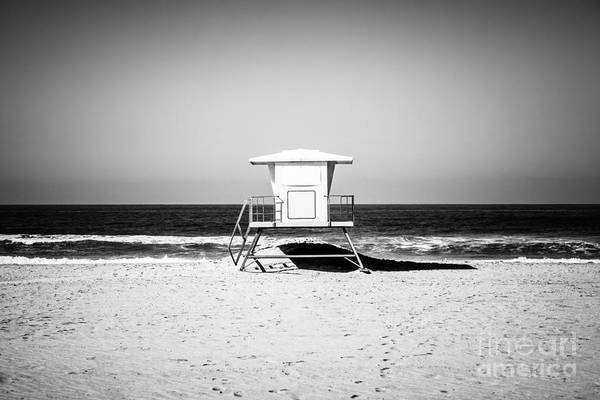 Huntington Beach Photograph - California Lifeguard Tower Black And White Picture by Paul Velgos