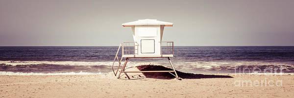 Huntington Beach Photograph - California Lifeguard Tower Retro Panoramic Picture by Paul Velgos