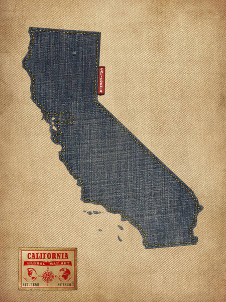 California Coast Digital Art - California Map Denim Jeans Style by Michael Tompsett