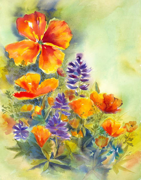 Painting - California Poppies And Lupin by Hilda Vandergriff