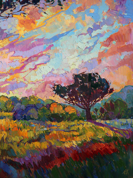 Oak Tree Painting - California Sky Quadtych - Lower Right Panel by Erin Hanson