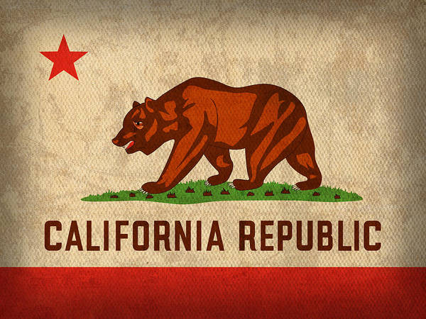 Wall Art - Mixed Media - California State Flag Art On Worn Canvas by Design Turnpike