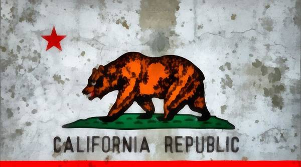 Lone Star Painting - California State Flag Weathered And Worn by Dan Sproul