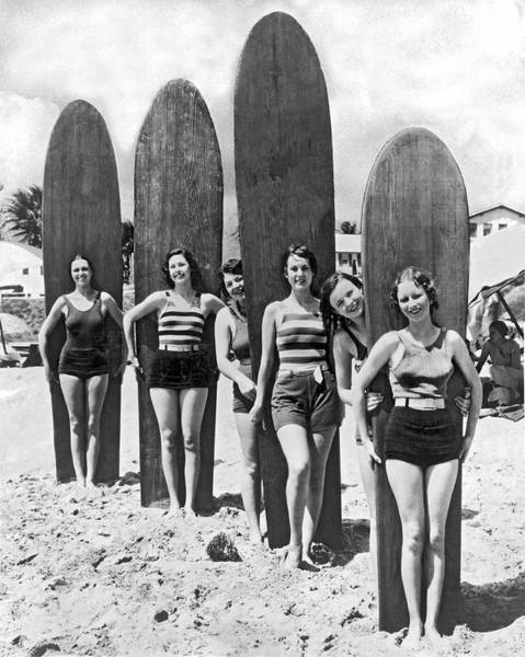 Longboard Photograph - California Surfer Girls by Underwood Archives