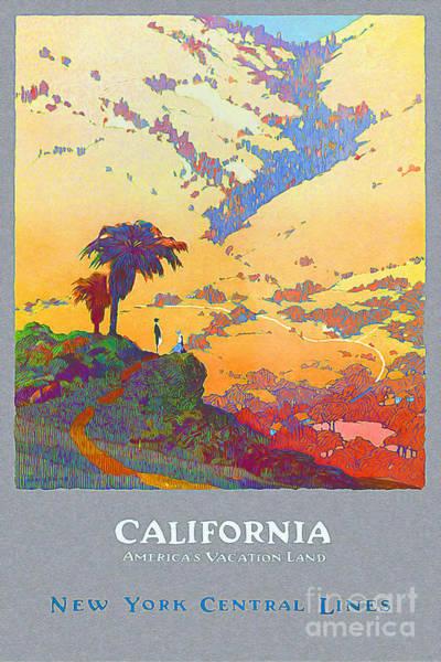 Brochure Drawing - California Vintage Travel Poster by Jon Neidert