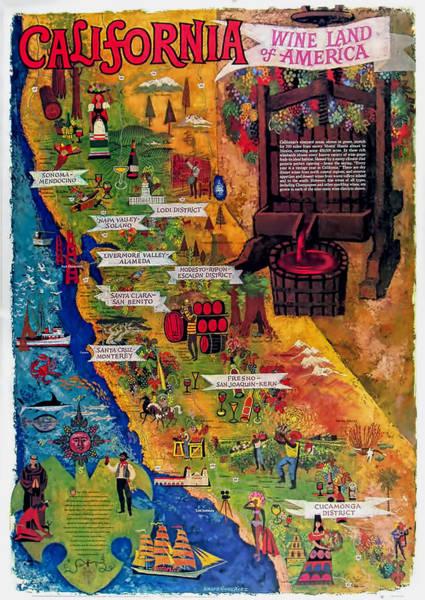 California Oak Digital Art - California Wine Map by Georgia Fowler