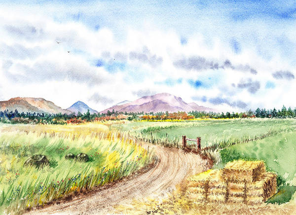 Painting - Californian Landscape Saint Johns Ranch Of Mountain Shasta County by Irina Sztukowski