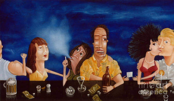 Bar Scene Painting - Call Me 1995 by Lawrence Preston