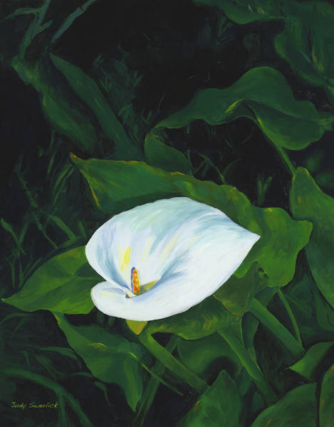Wall Art - Painting - Calla Lily In The Garden Of Diego And Frida by Judy Swerlick
