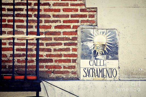 Prado Photograph - Calle Sacramento Madrid Street Sign by Ivy Ho