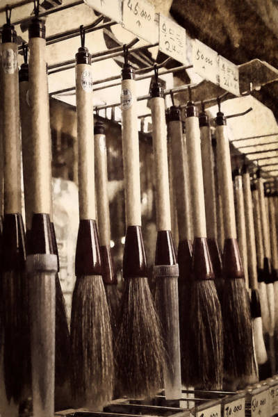 Photograph - Calligraphy Brushes Seoul Monochrome by Joan Carroll