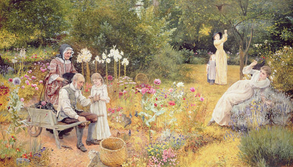 Golden Bloom Painting - Calling The Bees by Edward Killingworth Johnson