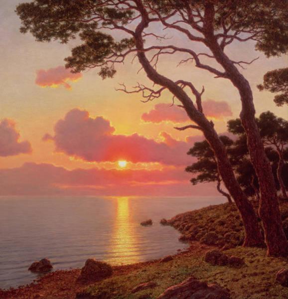 Azure Painting - Calme De Soir, Cote Dazur by Ivan Fedorovich Choultse