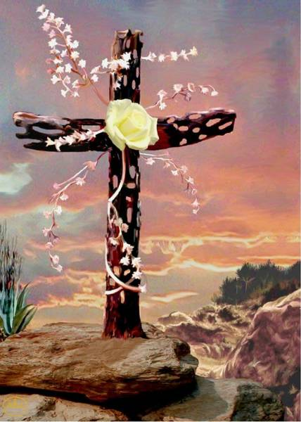 Redemption Painting - Calvary Cross by Ron Chambers