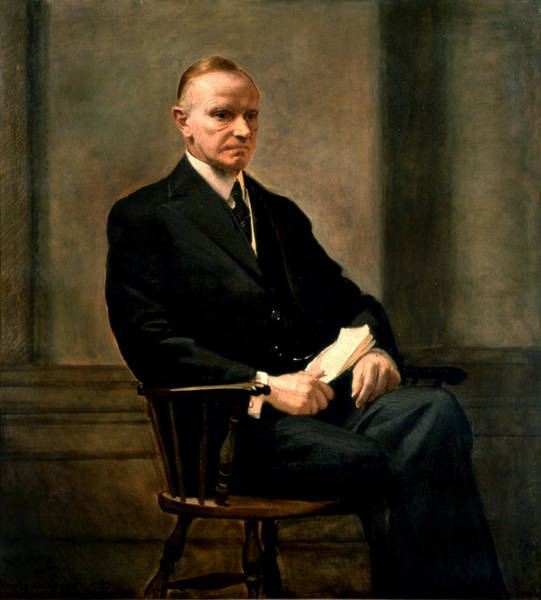Coolidge Painting - Calvin Coolidge Presidential Portrait by MotionAge Designs