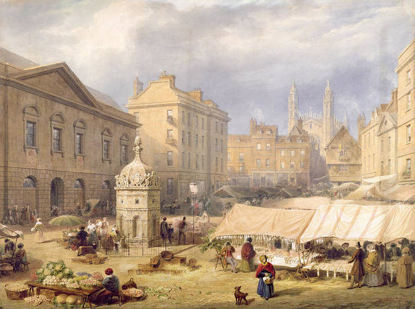 Chapels Painting - Cambridge Market Place, 1841 by Frederick Mackenzie