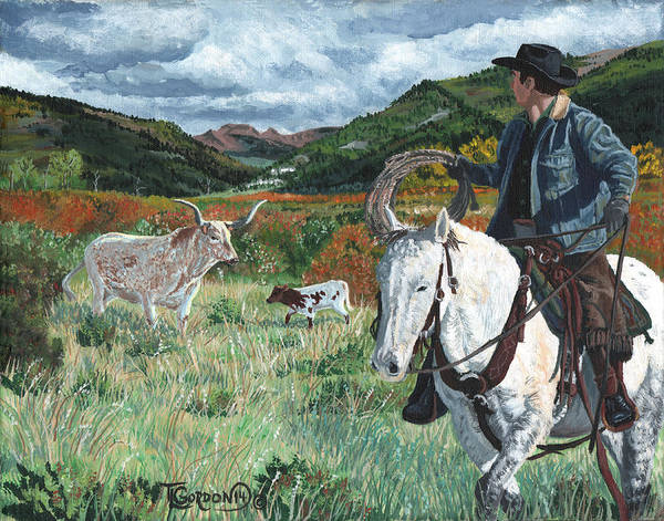 Longhorn Painting - Came A Long You Two by Timithy L Gordon