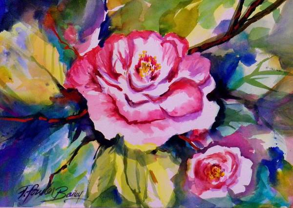 Sacramento Painting - Camellia Prisms Original Sold Prints Available by Therese Fowler-Bailey