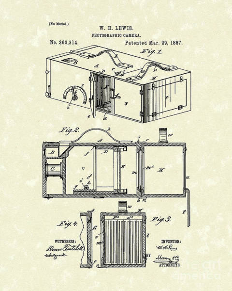 Drawing - Camera 1887 Patent Art by Prior Art Design