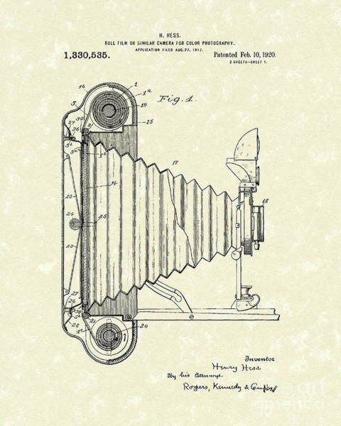 Drawing - Camera 1920 Patent Art by Prior Art Design