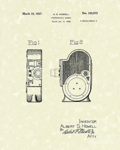 Drawing - Camera 1937 Patent Art by Prior Art Design