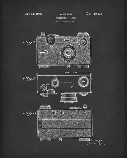 Drawing - Camera 1938 Patent Art Black by Prior Art Design